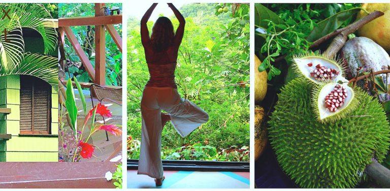 Yoga posture and fruits
