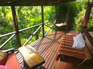 Honeymoon Suite private terrace with valley view and swing bed